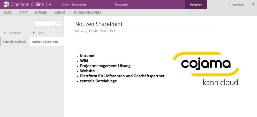 SharePoint und OneNote Online von cojama