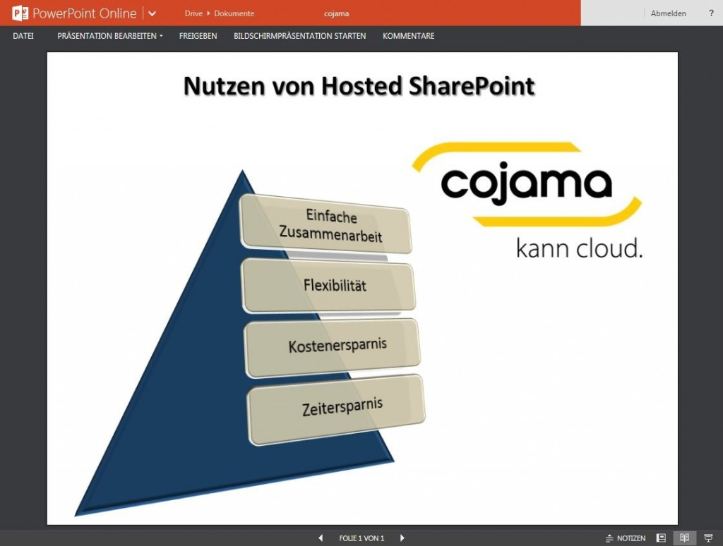 Office Online und PowerPoint Online mit cojamas SharePoint