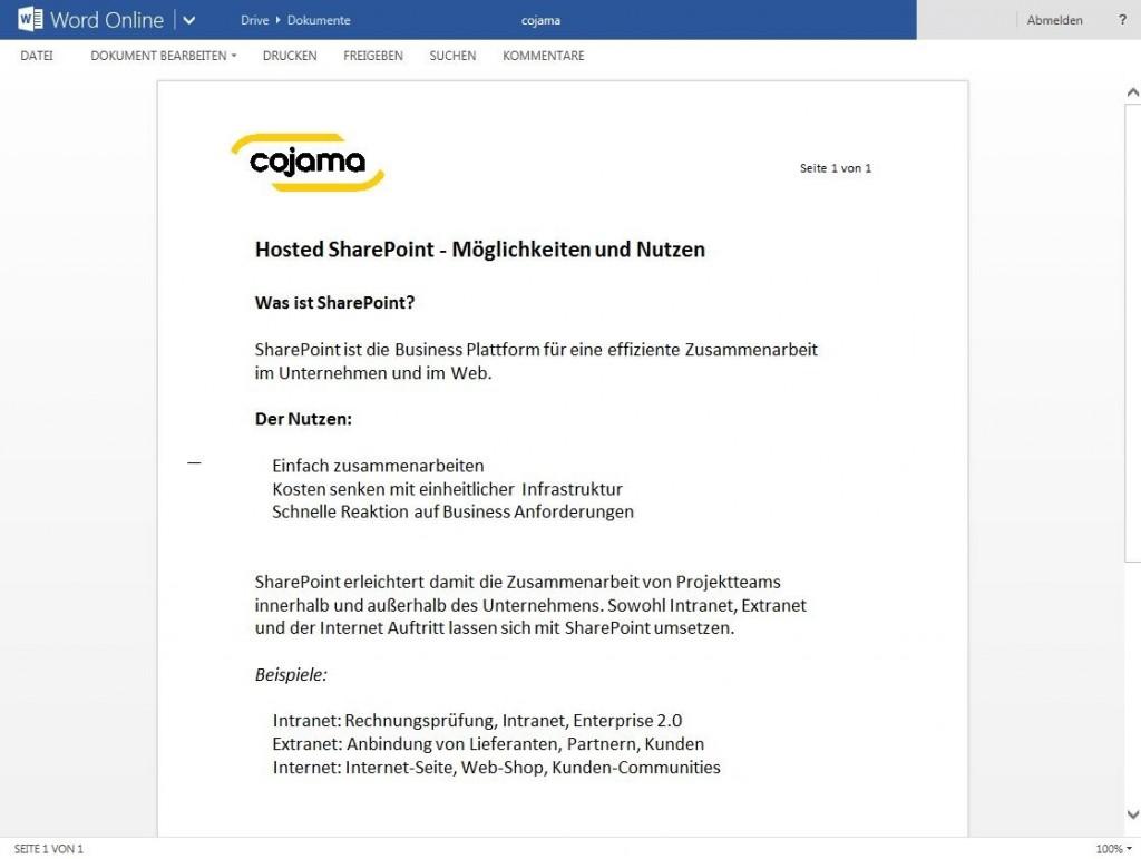 Word Onlien und SharePoint von cojama