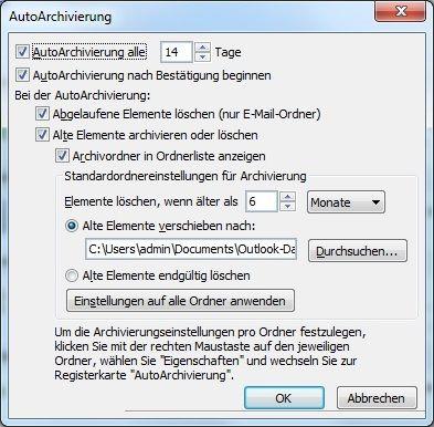 alte Elemente mit AutoArchivierung archivieren