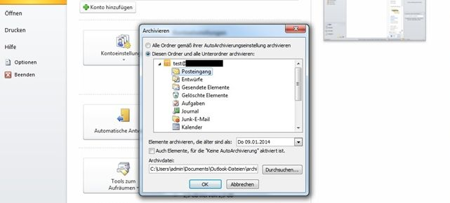 Manuelle Archivierung in Outlook