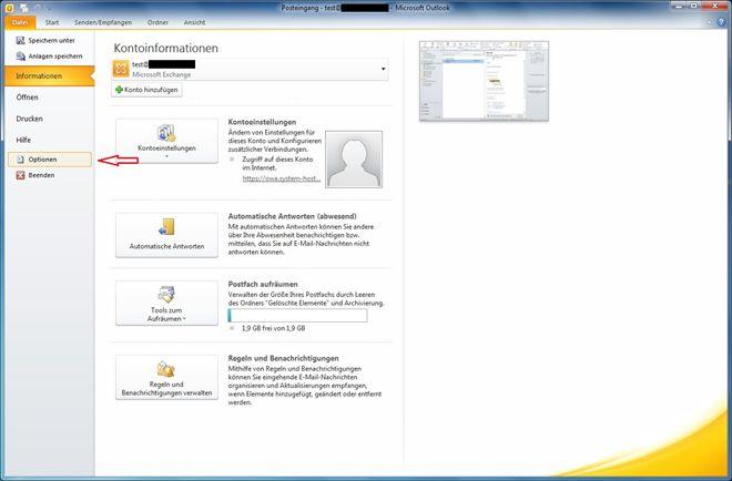 Einstellungen in Microsoft Outlook von cojama