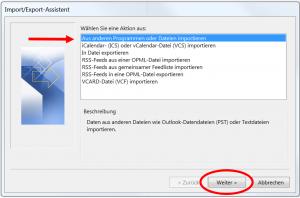 pst-Datei importieren