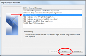 Import-Export-Assistent Outlook