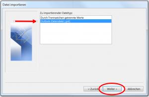 Datei importieren in Outlook