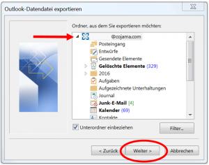 E-Mail-Adresse für pst-Datei auswählen
