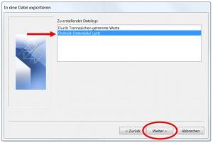 Exportieren der pst-Datei in Outlook