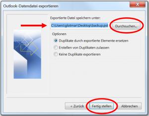 Speicherort der pst-Datei wählen