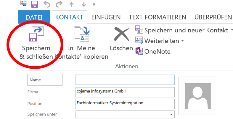 Outlook-Kontakt speichern
