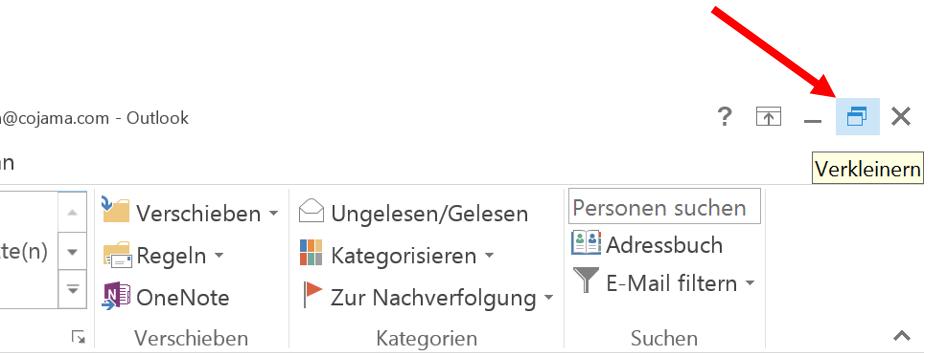 Outlook-Fenster verkleinern