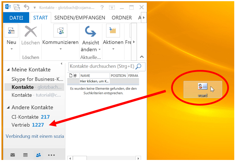 Import der vCard in Outlook