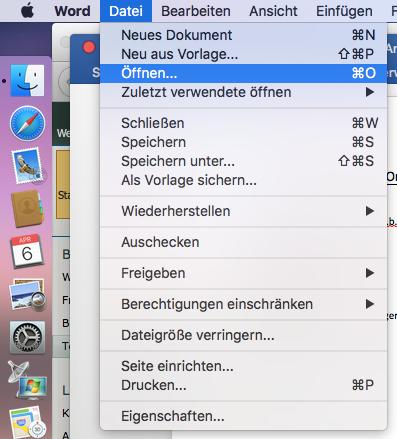 Office 2016 for Mac Datei Öffnen