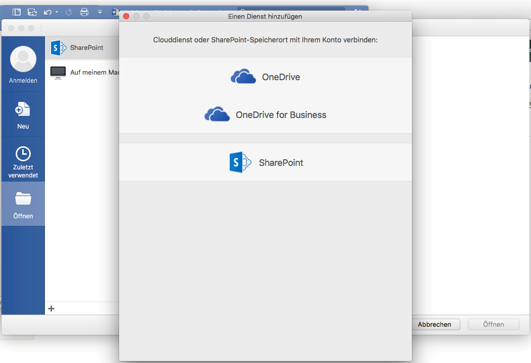 Office 2016 for Mac SharePoint einbinden