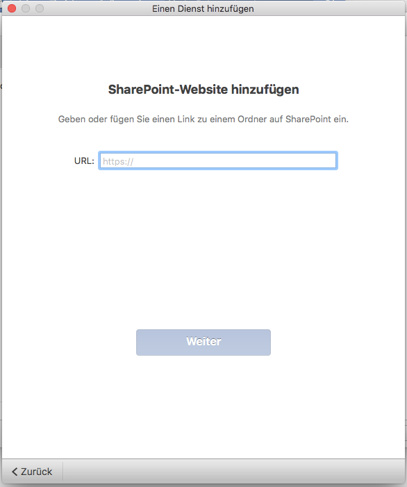 Office 2016 for Mac Site Url eingeben