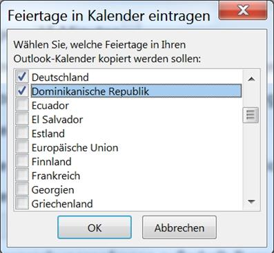 Falsche Feiertage iin Outlook ausgewählt
