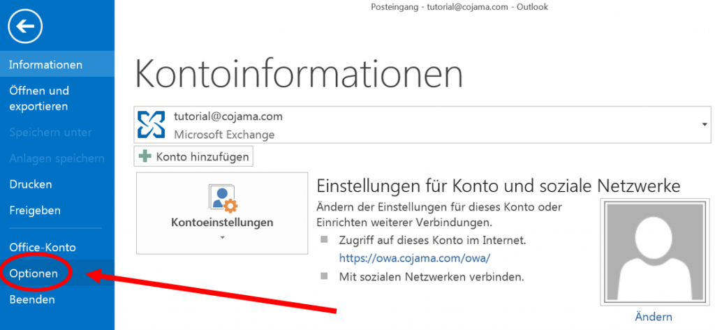 Options-Menü in Outlook 2013
