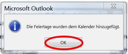 Feiertage wurden erfolgreich in Outlook Kalender kopiert