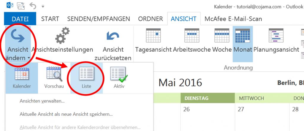 Listenansicht in Outlook 2013 auswählen
