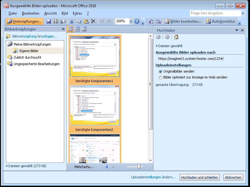 Mehrfachupload über den MS Office Picture Manager