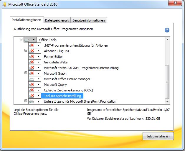 Benötigte Komponenten von Office 2010 - Office Tools aufgeklappt