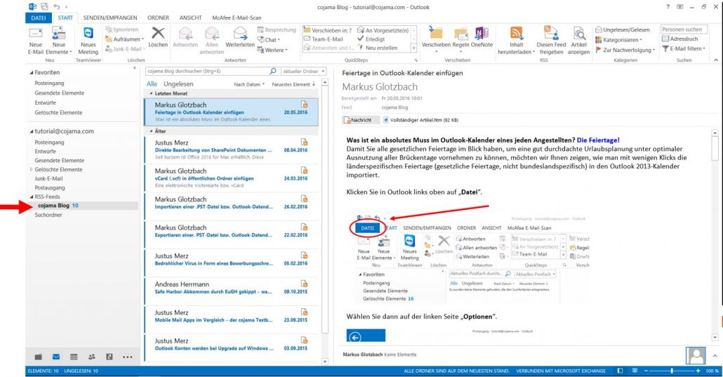 RSS-Feed in Outlook einfügen