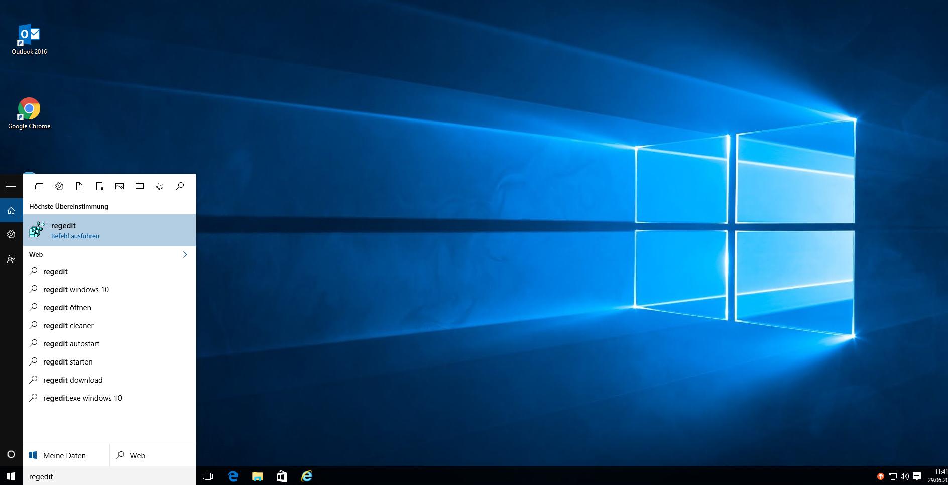 regedit aufrufen unter Windows
