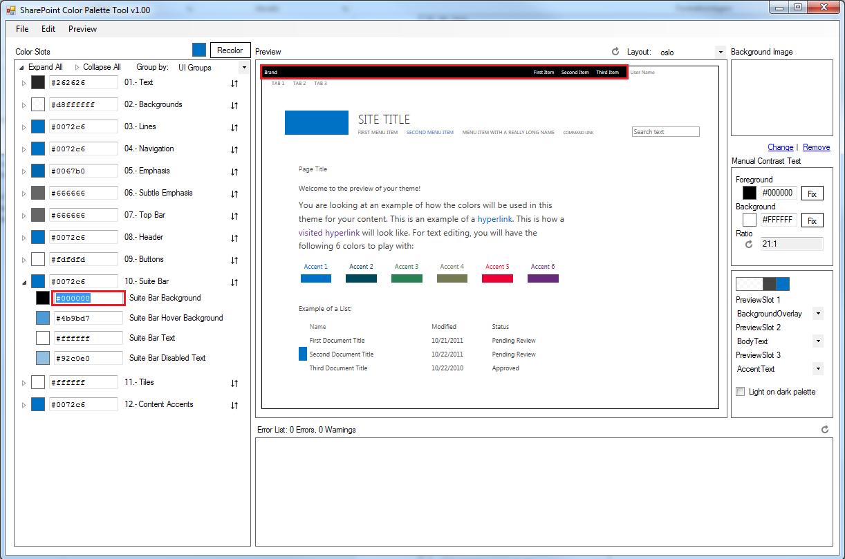SharePoint Color Palette Tool Vorschau