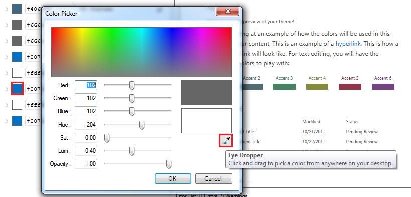 Farbpalette und eye picker