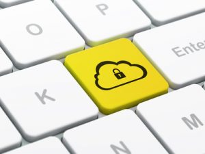 Cloud technology concept: computer keyboard with Cloud Whis Padlock icon on enter button background, selected focus, 3d render