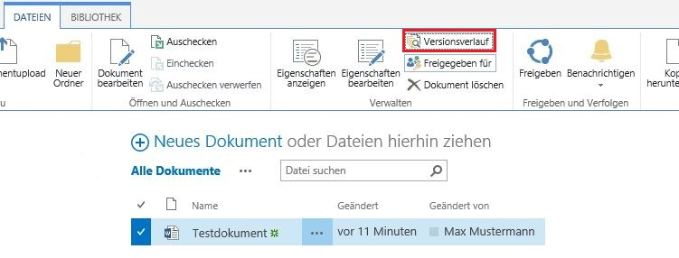 Versionierung Dokumentbibliothek