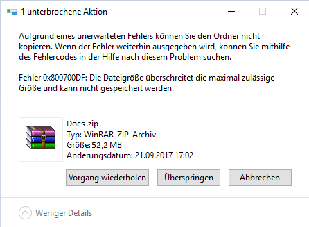 Fehlermeldung 0x800700DF