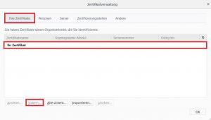 Firefox Zertifikat exportieren