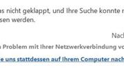Fehlermeldung Outlook-Suchfunktion