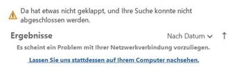 Fehlermeldung Outlook Schnellsuchfunktion